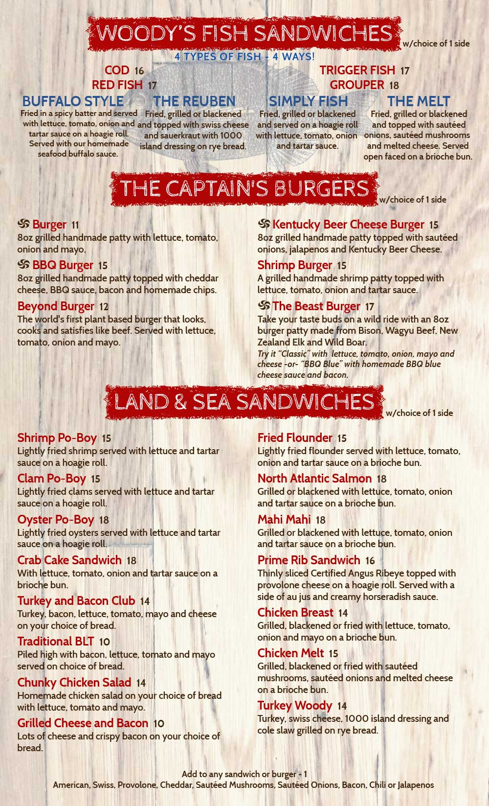 Woodys Menu Sandwiches