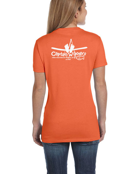 7cb4d635b Orange Ladies V-Neck T-shirt. With shipment Flat Rate Shipping $6.95 for  $6.95